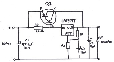 LM317T high current voltage regulator circuit with PNP Pass transistor such as a TIP147