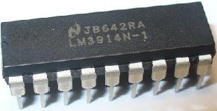 LM3914 dot/bar display driver - to be used for a battery voltage monitor