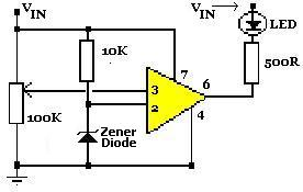 LM741 Op Amp High Voltage Indicator Circuit Diagram