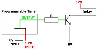 Use mains timer to switch a low voltage relay