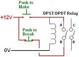 make latching relay with a dpst relay latching relay circuit reuk co uk dpdt relay wiring diagram at webbmarketing.co