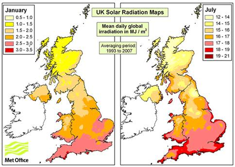 Map of UK Solar Radiation