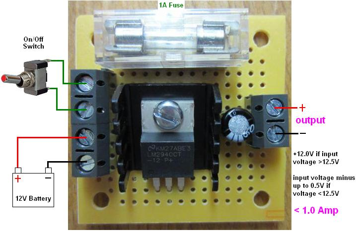 Connection diagram for miniature version of REUK 12 Volt regulator with fuse and switch terminals