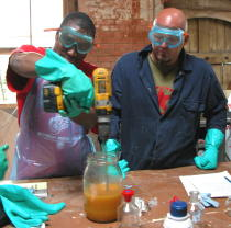 Mixing biodiesel during a course