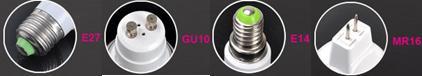 LED colour change bulbs available with MR16, GU10, E14, and E27 fittings