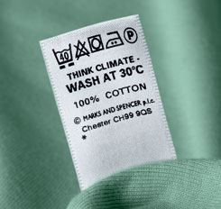 New Marks and Spencer Washing Instructions Label