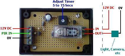 PIR relay timer circuit with suggested connections