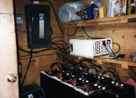 Power shed with control panel and battery bank