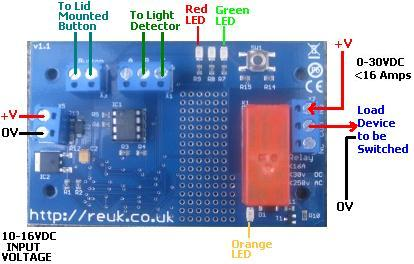 REUK Super LDR Dusk Dawn Controller - connection diagram for low voltage