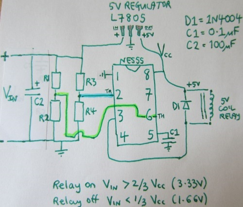 Schematic for NE555 low voltage disconnect circuit