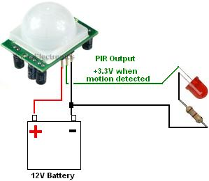 Simple PIR module LED circuit to turn on LED when motion detected