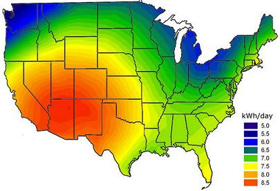 Solar insolation map for USA