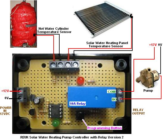 Connections diagram for the new 2013 REUK solar pump controller with relay