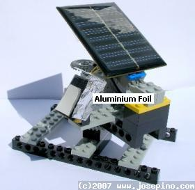 Aluminium foil used to reflect sunlight onto PV solar panel using in solar tracker