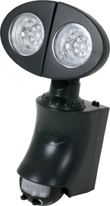 Solar powered twin LED with PIR motion detector