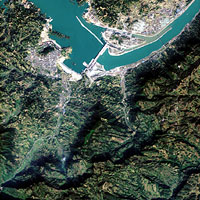 Three Gorges Dam viewed from above