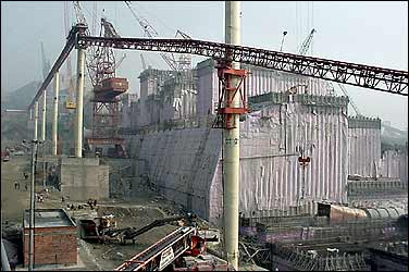 Three Gorges Dam during construction