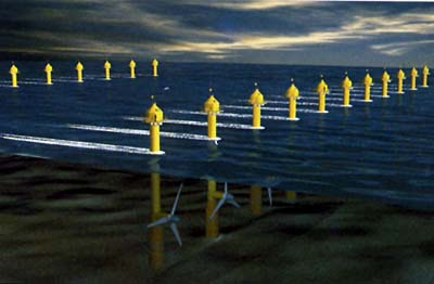 Artists impression of a tidal turbine farm