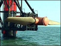 Tidal turbine raised for maintenance