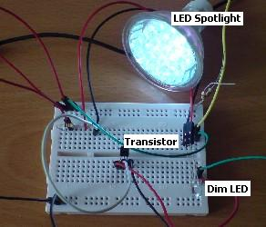 Complete transistor circuit with LEDs