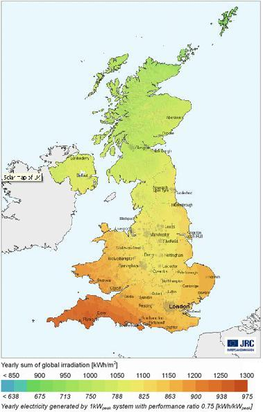 UK solar insolation map