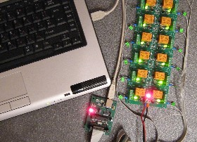 USB relay board relays controlled remotely over the internet