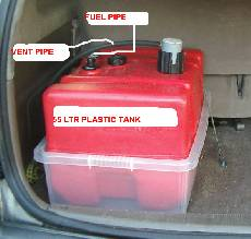 Vegetable oil fuel tank in diesel conversion