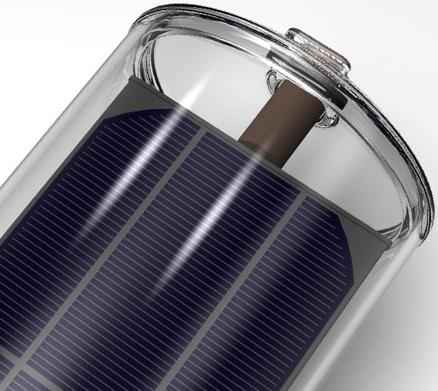 Evacuated solar water heating tube with integrated PV electricity generating panel - Virtu hybrid