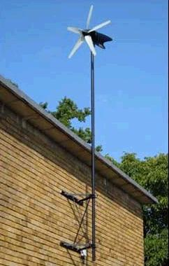 D400 wind turbine generated mounted to a wall