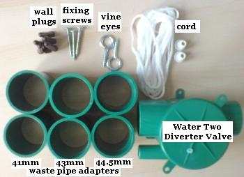 Components of a Water Two Greywater Diverter Kit