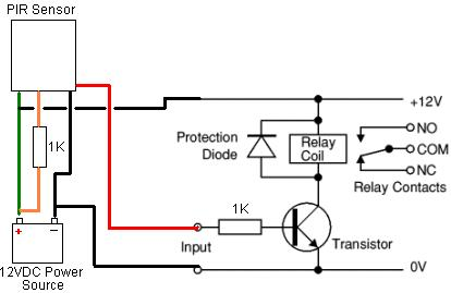 Wiring diagram for the additional electronics for an external PIR sensor modified for low voltage 12VDC operation