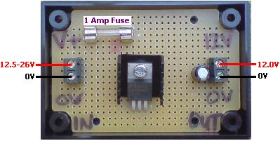 12 VOLT REGULATOR WITH FUSE. Supply a fixed 12.0 Volt DC to your devices (up to 1 Amp output). Includes fitted 1A fuse and 2 spare fuses.