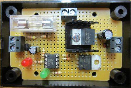 12 VOLT REGULATOR WITH LOW VOLTAGE DISCONNECT. Supply a fixed 12.0 Volt DC to your devices (up to 1 Amp output), with automatic low voltage disconnect, fitted fuse, spare fuses, and terminals for connection of a switch