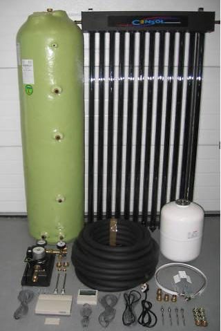 Complete evacuated tube solar water heating system