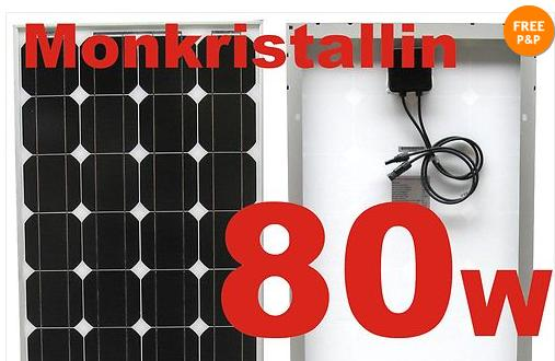 80w monocrystalline solar PV panel - 12VDC