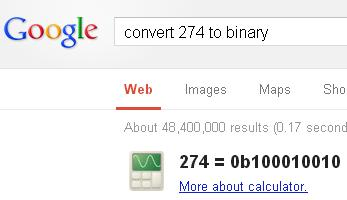 convert decimal value to binary