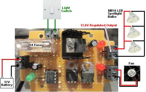 Connections for low voltage disconnect with twin outputs - regulated for LED lighting and to power a fan for ventilation