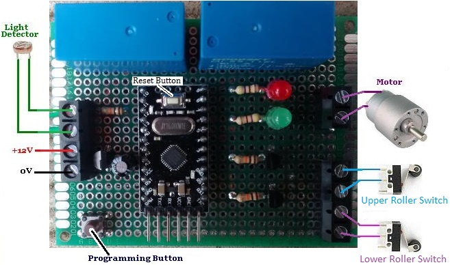 REUK Arduino based hen house dawn dusk door controller