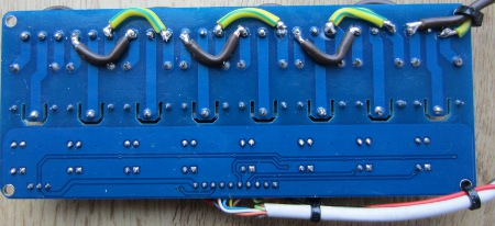underside of automatic horse feeder relay board