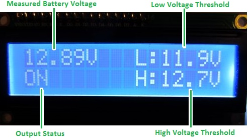 LCD display on REUK low voltage disconnect (LVD)