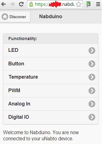 web interface for nabduino board