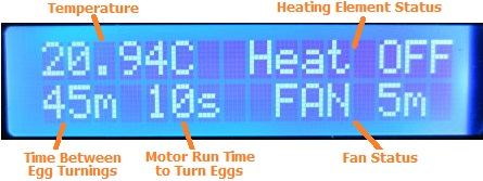 Display for thermostatic poultry incubator controller