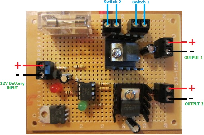 Low voltage disconnect with two regulated outputs