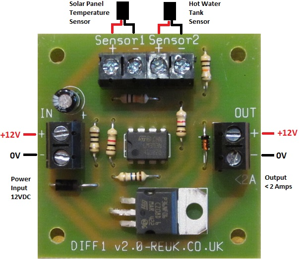 Connection diagram for REUK Differential Thermostat - new version Nov 2014