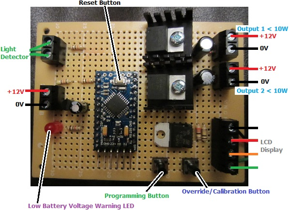 Poultry lighting controller with low voltage disconnect and display
