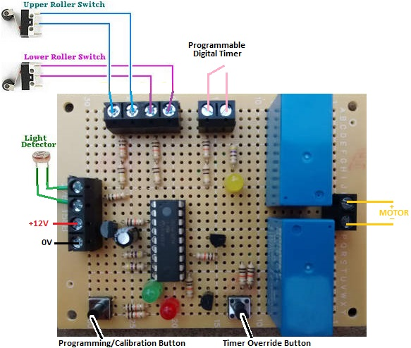 hen house door controller with light detector and timer override