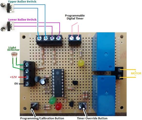 hen house door controller with light detector and timer override