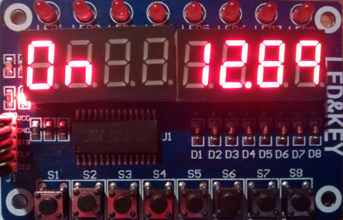 TM1638 used as low voltage disconnect display with Arduino - showing voltage and status