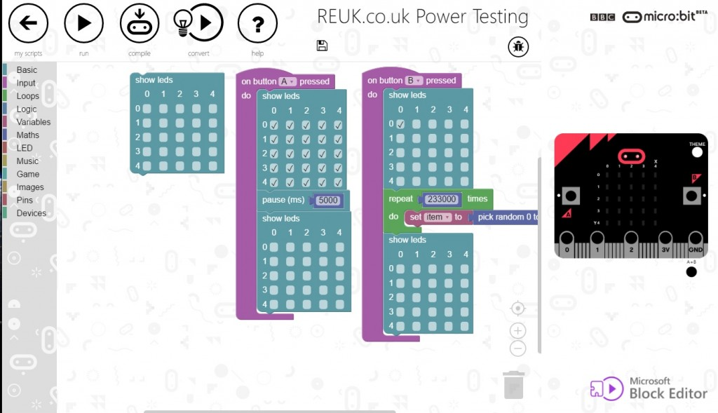 Power testing the micro:bit