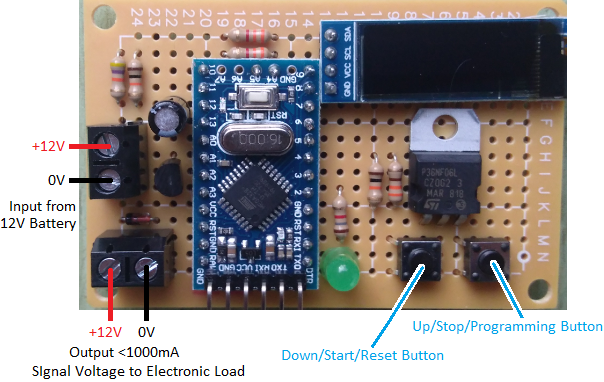 Device to time discharge of 12V battery to calculate mah capacity